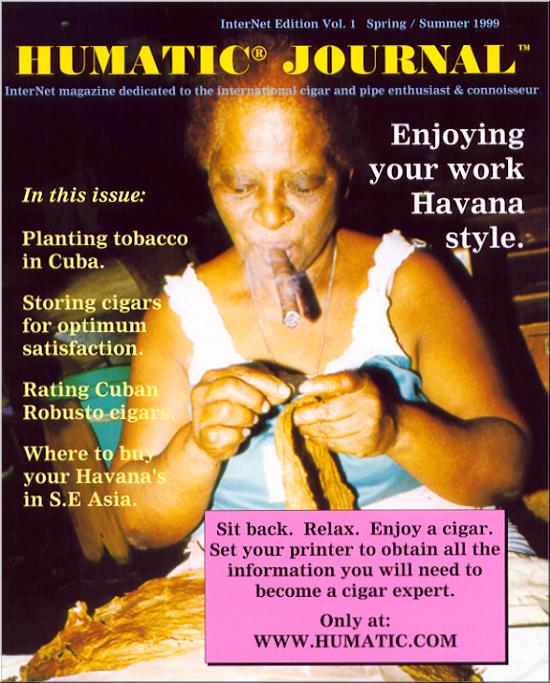 Cover Image for the Humatic Journal online Magazine containing information on Fine Cuban Cigars you cannot get anywhere else.  Its free.